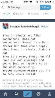 You're his father, Bruce. - You're his father, Bruce… - Tim Drake, Batman Universe, Dc Universe, Dc Memes, Funny Memes, Batfamily Funny, Bat Boys, Batman Family, Dc Characters