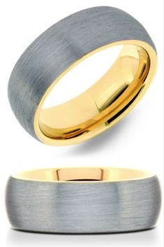 Mens 18K yellow gold interior with silver brushed top wedding band. Crafted out of tungsten wedding band. The most amazing mens wedding band!