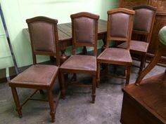 Set of Four Antique Leather Chairs   Dealer #195  $325 Set of Four  Lucas Street Antiques Mall 2023 Lucas Dr.  Dallas, TX 75219  Located close to Dallas' Design District within walking dista