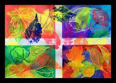 Otisky listů s fluo barvami
