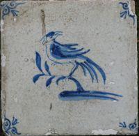 Antieke dierentegels, Friese en Hollandse tegels, delfts blauw en mangaan, 17e eeuws Makkumertegels