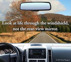 This is why the windshield is LARGER and the rearview mirror is smaller, So we focus on looking forward, not back.