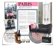 """#parisapartment"" by princessbollywood ❤ liked on Polyvore featuring interior, interiors, interior design, home, home decor, interior decorating, Post-It, Plum & Bow, Retrò and Chanel"