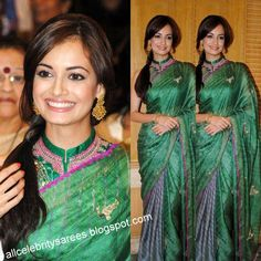 Bollywood Celebrity Diya Mirza with green and purple color pure silk half-saree model saree with high neck embroidarey sleeve less blouse