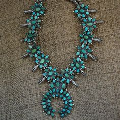Early Navajo Squash Blossom from uchizonogallery on Ruby Lane Vintage Turquoise, Coral Turquoise, Turquoise Jewelry, Silver Jewelry, Ethnic Jewelry, Indian Jewelry, Concert Wear, Squash Blossom Necklace, Native American Jewelry
