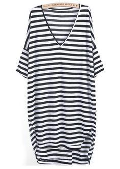Black White Striped V Neck Loose Dress- 12$
