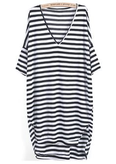 Black White Striped V Neck Loose Dress- 12$
