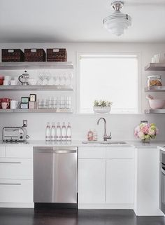 Open shelving... girly kitchen.  This is gorgeous!