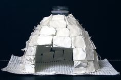 """Cut a large bottle of water, then glue on pieces of paper/card to make an igloo ("""",) Creative Activities, Winter Activities, Skills To Learn, Learning Skills, Preschool First Day, Art For Kids, Crafts For Kids, Artic Animals, Block Area"""