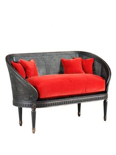 RED!  old hickory tannery- settee