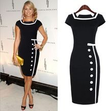 Cheap dress cocktail, Buy Quality dress work directly from China dress up cow girl Suppliers: 2014 New Women Business Work Sheath Bodycon Vintage Pencil Dress Career Elegant Office Dress Black White Drop Shipping 19835 Vestidos Vintage, Vintage Dresses, Vintage Stil, Retro Vintage, Vintage Nautical, Vintage Black, Vintage Pencil Dress, Pencil Dresses, Marine Style