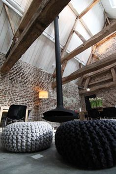 ♂ Industrial  rustic interior design - you can't fool me - those are tires!