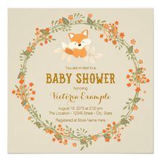 Baby Woodland Fox Baby Shower Custom Announcement