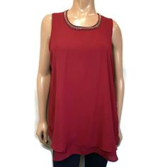 Mandy Evans Sleeveless Blouse Womens XL Red Rhinestone Jewel Layered Hem Top #MandyEvans #Basic #PartyCocktail Red Rhinestone, Sleeveless Blouse, Underarm, Blouses For Women, Evans, Layers, Jewels, Tank Tops, Shirts