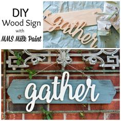 How about a quick afternoon craft project? Use this step-by-step tutorial to create your own DIY Gather Wood Sign with MMS Milk Paint. Green Painted Furniture, Furniture Wax, Primitive Furniture, Refurbished Furniture, Upcycled Furniture, Furniture Ideas, Modern Furniture, Furniture Design, Diy Wood Signs