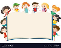 Background template with kids around book Vector Image Frame Border Design, Boarder Designs, Powerpoint Background Design, Background Templates, Graduation Wallpaper, Graduation Images, Jesus Drawings, Sunday School Crafts For Kids, Bible Images