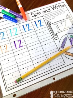 Fun twist on writing numbers! Students spin the spinner and write the number using color they spun!