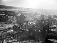 German-held postions over the Amblève river in Stavelot, as seen from the front lines. December 30, 1944.