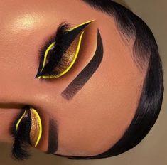 Brown and yellow eye makeup - ChicLadies. Makeup Eye Looks, Eye Makeup Art, Crazy Makeup, Glam Makeup, Makeup Meme, Kylie Makeup, Makeup Drawing, Makeup Goals, Face Makeup