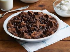 Chocolate Bread Pudding: Pour a rich mixture of eggs, milk, sugar, salt, vanilla, cocoa and cinnamon over stale bread, then top with chocolate chips. The dessert will bake until it's firm on the outside but gooey and moist on the inside.