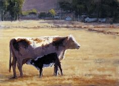 Mama's Boy by Kathleen Dunphy Oil ~  painting of cow and calf