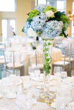 This is the sort of classic wedding that I live for: a stunning Boston Harbor Hotel affair with glistening water views and a traditional ballroom reception that will take your breath away. Blue Hydrangea Centerpieces, Blue Hydrangea Wedding, Blue Wedding Centerpieces, Wedding Bouquets, Wedding Decorations, Wedding Blue, Tall Centerpiece, Centerpiece Ideas, Trendy Wedding