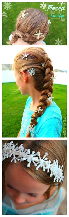 frozen diy snowflakes hair clips and headband made with glitter and hot glue!
