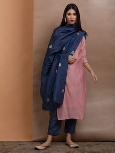 Old Rose Chanderi Silk Kurta with Slip, Navy Blue Cotton Silk Pants and Embroidered Dupatta - Set of 3 Silk Kurti Designs, Churidar Designs, Kurta Designs Women, Kurti Designs Party Wear, Blouse Designs, Dress Indian Style, Indian Wear, Indian Dresses, Casual Indian Fashion