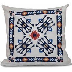 Simply Daisy 16 inch x 16 inch Jodhpur Border 4 Geometric Print Pillow, Blue