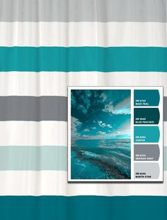 Shower Curtain in Stormy Seas Inspired Stripes Standard and Long Lengths or 96 inhes Let's make one in your colors! Shower Curtain in Stormy Seas Inspired Stripes Standard and Long Shower Curtains, Fabric Shower Curtains, Bedroom Paint Colors, Bathroom Colors, Bathroom Designs, Bathroom Ideas, Sherwin William Paint, Stormy Sea, Color Swatches