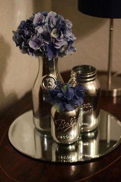 "DIY Inspiration: mason jars spray painted with Krylon's ""Looking Glass"" spray."