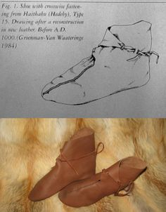 Replica of 9th Century CE shoes, found in Haithabu (Hedeby), northern Germany. http://shuka.ibord.ru/viewtopic.php?id=242