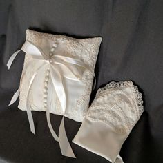 Gifts for the bride made from Mom's Wedding Dress. Ring Bearer Pillow and Women's Hankie. Source by unboxthedress wedding dress Baby Girl Wedding Dress, Wedding Dress Crafts, Wedding Dresses For Girls, Wedding Dress Trends, Baby Wedding, Wedding Lace, Wedding Ideas, Wedding Pillows, Ring Pillow Wedding