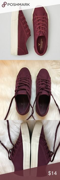 [American Eagle] canvas sneakers in Maroon size 7 American Eagle Outfitters sneakers - Soft cotton canvas upper, Lace up, platform silhouette, Cushioned insole, Treaded rubber outsole. Maroon color. Worn once. Excellent condition. Size 7 American Eagle Outfitters Shoes Athletic Shoes