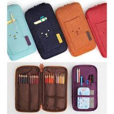 Cute Zipper Pen Pencil Case, Felt Zip Around Multi Pouch Organizer, Toffeenut Multi Pocket Ver.3 by Monopoly