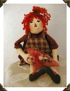 Primitive E- Pattern Folk Art Raggedy Doll Decoration Pattern