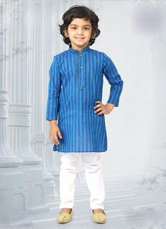 Boasting of stylish design and absolute comfort,this exclusive cotton textured ethnic-wear is specially designed for your darling. Dress up your adorable one with this outfit along with mojadis for a complete traditional look. Boys Party Wear, Kids Wear Boys, Baby Boys, Little Boy Fashion, Kids Fashion Boy, Toddler Fashion, Kurta Designs, Blouse Designs, Boys Kurta Design