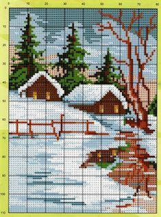 Cross Stitch House, Cross Stitch Tree, Cross Stitch Books, Simple Cross Stitch, Easy Cross Stitch Patterns, Cross Patterns, Cross Stitch Charts, Cross Stitch Designs, Cross Stitch Quotes