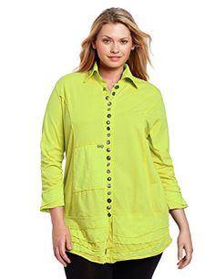 Neon Buddha Women's Plus-Size Artisan Shirt, Lime Surf, 3X