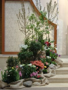 catholic-church-sanctuary-easter-decorations (spring decorations for church) Christmas Flower Decorations, Church Altar Decorations, Spring Decorations, Altar Flowers, Church Flowers, Altar Design, Easter Garden, Church Stage Design, Church Banners