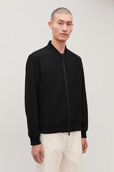 COTTON BOMBER JACKET - Black - Bomber Jackets - COS Wardrobe Sale, Small Wardrobe, Black Bomber Jacket, Bomber Jackets, Latest Clothes For Men, White Shirts, Fashion Models, Menswear, Man Shop