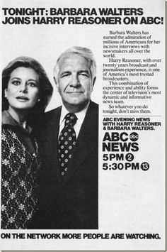 in 1976 - TV audiences watched as Barbara Walters joined Harry Reasoner at the anchor desk of the ABC Evening News for the first time. Walters made the switch with a million-dollar paycheck, becoming the first woman to anchor a network evening newscast. Abc News Anchors, Barbara Walters, On This Date, Newscaster, Nightly News, Thing 1, Morning News, Good Morning America, Old Tv