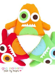 Monster Toy Sewing Pattern - Mini Monsters - Party Favors/Ornaments/Baby Mobile - PDF. $7.00, via Etsy.