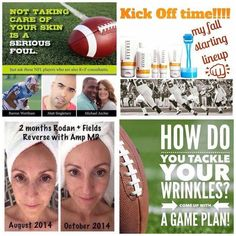 NFL Football season kicks off tomorrow!! I LOVE Football!! And I LOVE Rodan+Fields!! You're probably wondering what does football have to do with Rodan + Fields? I'm proud to say we have a few NFL stars on our team! They use the products and have GREAT skin!! Why not kick off a great skincare routine that will help exfoliate and brighten your complexion and erase the damage we did these past few months. Message me to get started!