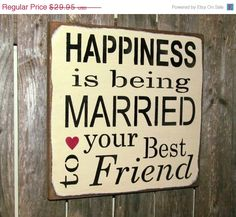 Rustic Wedding Sign, Bridal Shower Gift, Anniversary, Valentines Day Gift, Happiness is Being Marrie Wood Signs Sayings, Diy Wood Signs, Rustic Wood Signs, Sign Quotes, Qoutes, Rustic Decor, Quotations, Bridal Shower Rustic, Bridal Shower Gifts