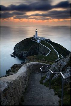This is the beautiful South Stack Lighthouse in Anglesey, Wales (UK.)