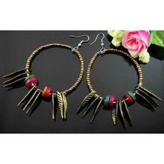 Boucles d'oreilles perles et plumes - boucles d'oreilles fantaisie - Laure.L*Bijoux