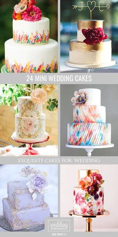 24 Exquisite Mini Wedding Cakes For Your Wedding ❤ Here wonderful collection of mini wedding cakes which will surprise your guests. See more: http://www.weddingforward.com/mini-wedding-cakes/ #wedding #cakes