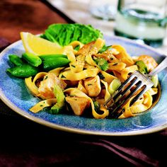 Pasta steps in for steamed rice in this Asian-inspired salad. Be sure to purchase an Asian salad dressing to stay true to the salad's intended flavor.