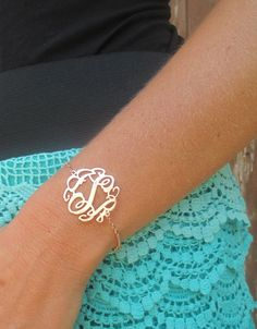 Sterling Silver ILJA Lace Monogram Bracelet - 1.25 Inches #simplydresses #armcandy